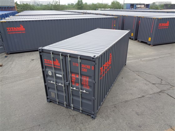 Standard containers dry 20 foot gray red text
