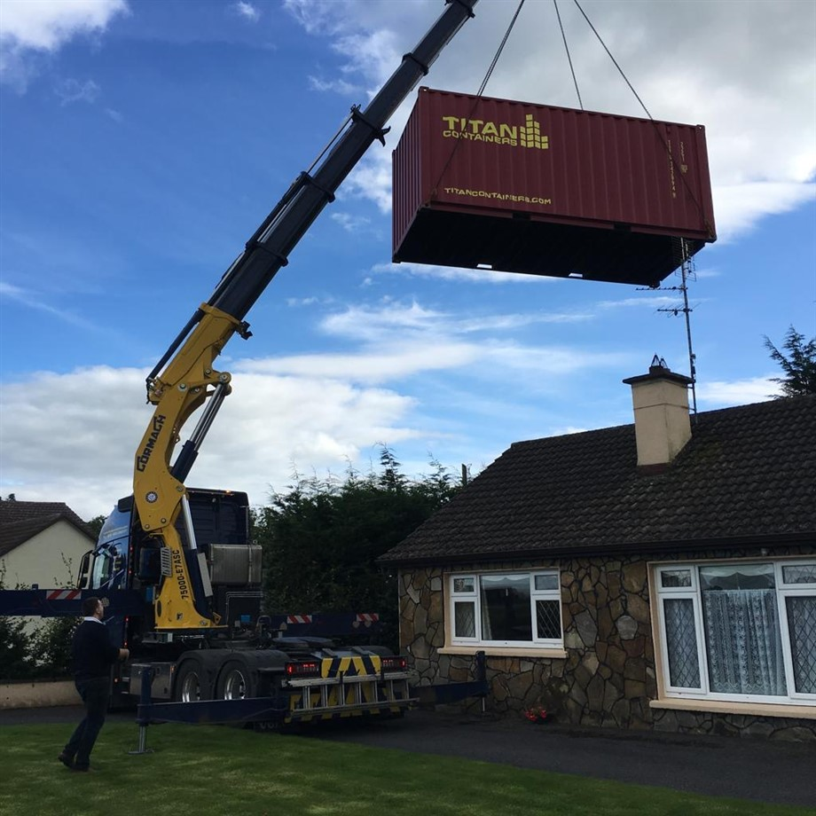 Crane 20 foot storage container hiab lift ireland TITAN Containers