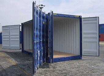 CONTAINER HIRE Storage Container with doors on each end 20 blue outside side door access doors open