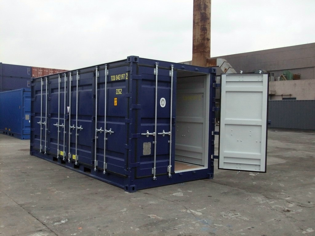 Storage Container with doors on each end 20 blue outside side door access one door open